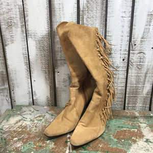 Tan Pointed Toe Suede and Fringe Heel Boots 9M